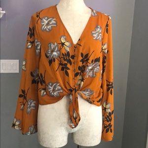 Urban Romantics Front Tie Floral Top